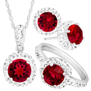 $19 July Birthstone Pendant with Red Swarovski Crystal