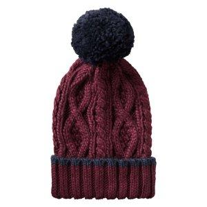 Pompom Hat in Burgundy from Joe Fresh
