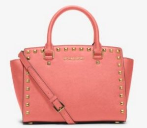 MICHAEL MICHAEL KORS  Selma Medium Studded Saffiano Leather Satchel