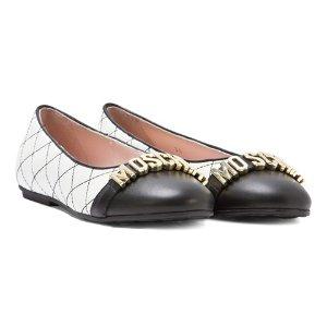 Moschino Black and Cream Branded Ballet Pumps | AlexandAlexa