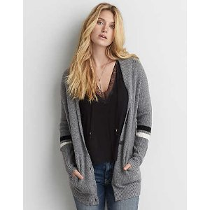 AEO Varsity Stripe Cardigan , Heather Gray | American Eagle Outfitters