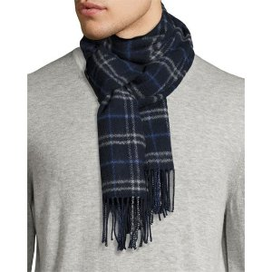 Neiman Marcus Merino Wool Plaid-Print Boxed Scarf, Navy Multi