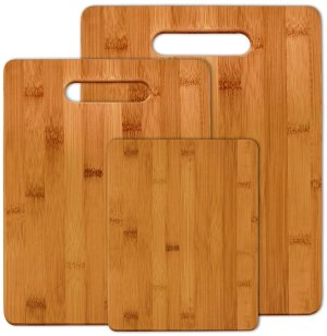 Bamboo Cutting Boards (Set of 3) - Fruit, Veggies, Meat Chopping Board