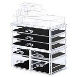 Bestrice Acrylic Makeup Organizer Jewelry Display Boxes Bathroom Storage Case 3 Pieces Set 7 Drawers