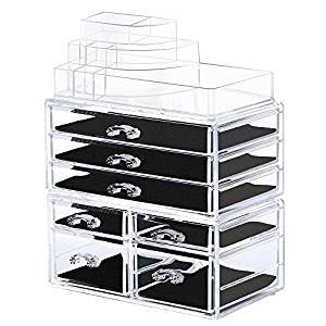 Bestrice Acrylic Makeup Organizer Jewelry Display Boxes Bathroom Storage Case 3 Pieces Set 7 Drawers