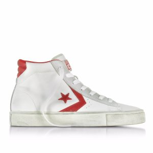 Converse Limited Edition Pro Leather Vulc White and Red Mid Top Unisex Sneakers 9.5 (11 WOMENS US | 8.5 UK | 43 EU) at FORZIERI