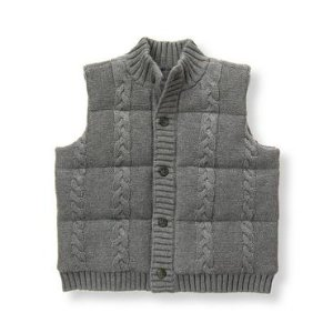 Baby Boy Heather Grey Cable Puffer Vest at JanieandJack