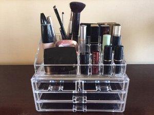 Unique Home Acrylic Jewelry & Cosmetic Storage Makeup Organizer, Clear, Medium, 2 Piece