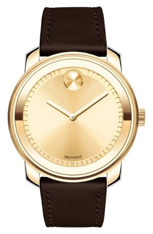 As Low As $329.90 Movado 'Bold' Crystal Accent Leather Strap Watch