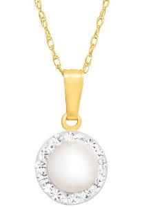 Pearl Pendant with Swarovski Crystals
