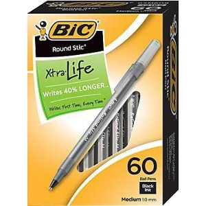 $2.40 BIC® Round Stic Ballpoint Pens, Medium Point, 1.0 mm, Translucent Barrel, Black Ink, Pack Of 60