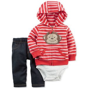 Carter's 3-Pc. Striped Monkey Hoodie, Bodysuit & Jeans Set, Baby Boys (0-24 months) - Carter's - Kids & Baby - Macy's