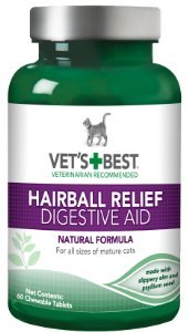 Vet's Best Cat Hairball Relief Digestive Aid, 60 Chewable Tablets
