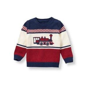 Baby Boy Deep Crimson Train Sweater at JanieandJack