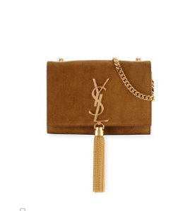 $1890 + $300GC Saint Laurent Monogram Small Suede Tassel Crossbody Bag, Camel @ Neiman Marcus