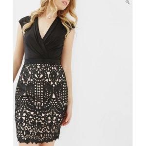 LACE SKIRT WRAP DRESS - Black | Dresses | Ted Baker