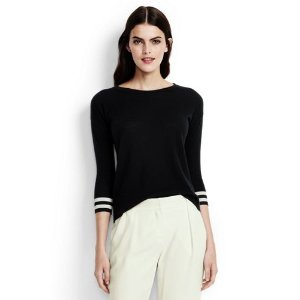 Women's Tipped Cuff Cashmere Sweater from Lands' End