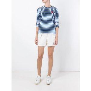 Comme Des Garçons Play Embroidered Heart Striped T-shirt