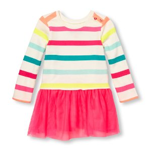 Toddler Girls Long Sleeve Rainbow Stripe French Terry Tutu Dress | The Children's Place