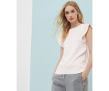 FRILL SLEEVE KNIT TOP - Straw | Sweaters | Ted Baker
