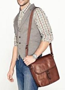 Fossil Men's Estate Saffiano Leather North-South City Bag