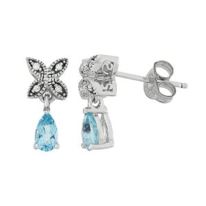 Simply Vera Vera Wang Blue Topaz & Diamond Accent Sterling Silver Drop Earrings