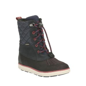 Syd Hi GTX Youth Navy Leather - Boys Boots - Clarks® Shoes Official Site