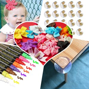 Daily Enssencial Chalk Markers + Baby Corner Protectors + 20pcs Hair Bows
