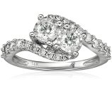 10k 2 Stone Diamond Miracle Plate Engagement Ring