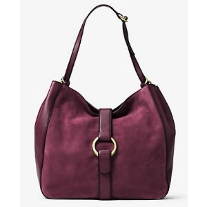 MICHAEL MICHAEL KORS Quincy Large Suede And Leather Shoulder Tote