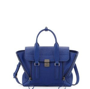 3.1 Phillip Lim Pashli Medium Leather Satchel Bag, Cobalt @ Neiman Marcus
