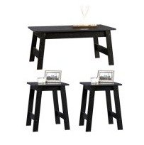 $59 Sauder Beginnings 3 Piece Coffee and End Tables Value Bundle, Black