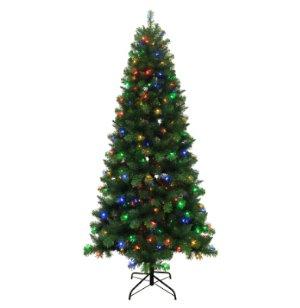 $69 (原价$169)Holiday Living 7.5-ft 圣诞树 带彩色LED灯