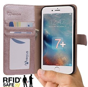 $0.99 Abacus24-7 iPhone 7 PLUS Case, Wallet with RFID Blocking Flip Cover, Rose Gold
