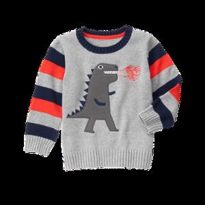 Toddler Boys Heather Grey T-Rex Sweater by Gymboree