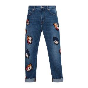 MSGM Patchwork Crop Jeans by MSGM   Moda Operandi