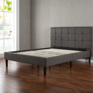 $179.25(reg.239.00) Zinus Upholstered Square Stitched Platform Bed with Wooden Slats, Queen