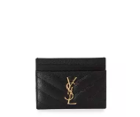 Saint Laurent Monogram Matelass Leather Card Case, Black/Gold