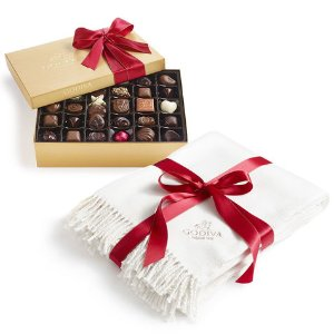 Holiday Throw and Assorted Chocolate Gold Gift Box | GODIVA