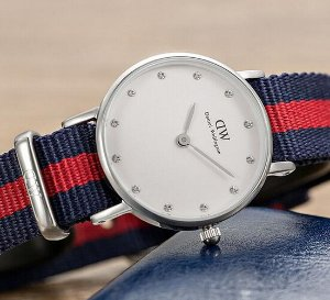 Daniel Wellington Classy Oxford White Dial Multi-Color Nylon Strap Ladies Watch 0925DW
