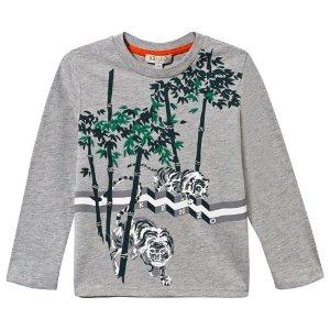 Kenzo Kids Grey Marl Tiger in the Jungle Print Tee | AlexandAlexa