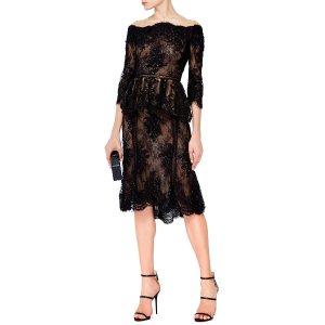 Off The Shoulder Beaded Lace Peplum Top by Marchesa | Moda Operandi