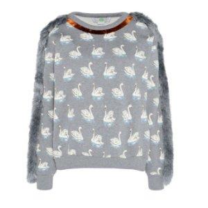 Fringe Swan Print Sweatshirt