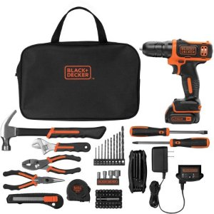 $49(原价$69)Black and Decker 12V无绳电钻和64件工具套装,带收纳包