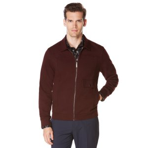 Twill Knit Front Zip Jacket | Perry Ellis