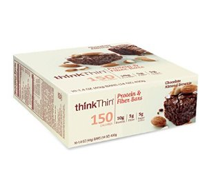 $10.24thinkThin Protein & Fiber Bars, Chocolate Almond Brownie, 1.41 Ounce (Pack of 10)