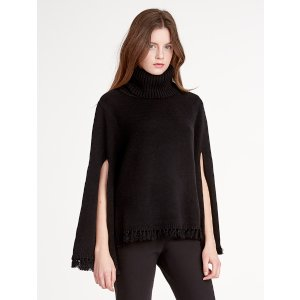Halston Heritage -Wool / Cashmere Blend Poncho With Slit Sleeve
