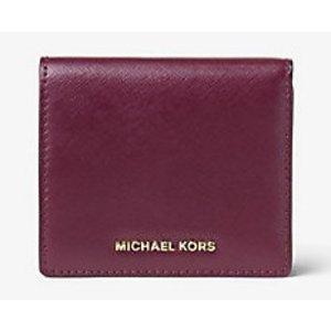 MICHAEL MICHAEL KORS Jet Set Travel Patent-Leather Card Case
