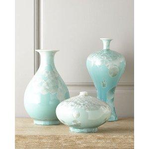 John-Richard Collection Three Swirling Leaves Aqua Vases