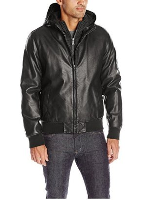 $57.99 Tommy Hilfiger Men's Smooth Lamb Touch Faux Leather Bomber with Double Hood